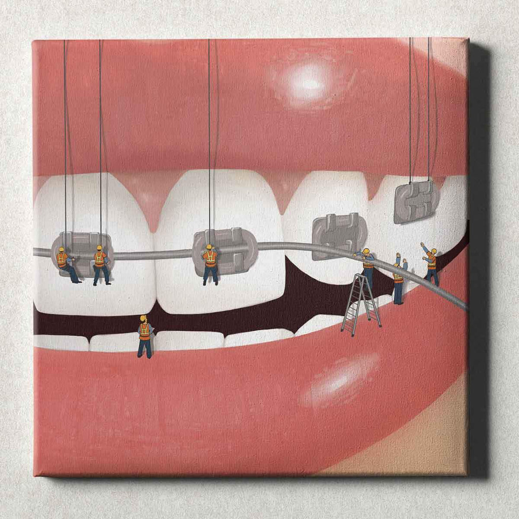 Dental Office Canvas Wall Art Gallery Wrapped Brace Face Silver