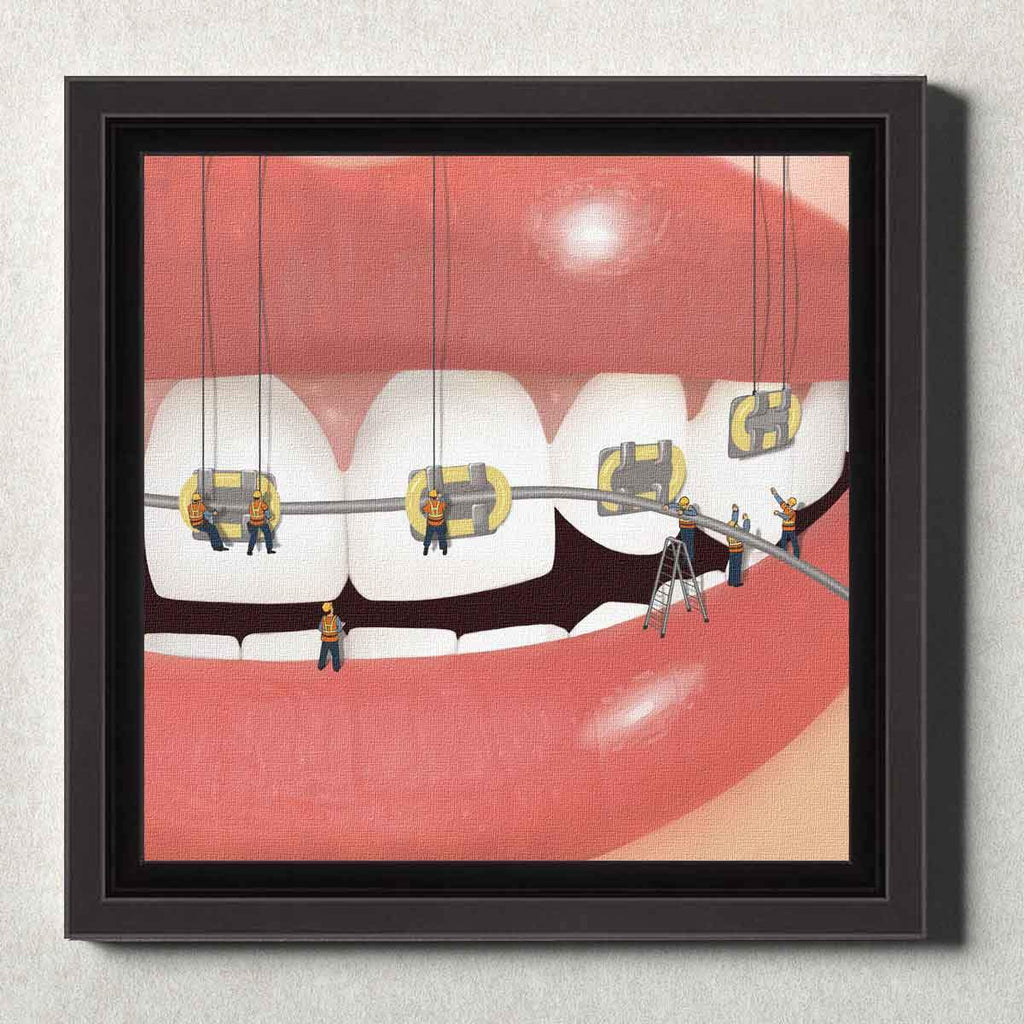 Dental Office Canvas Wall Art Framed Brace Face Yellow