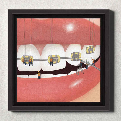 Image of Dental Office Canvas Wall Art Framed Brace Face Yellow