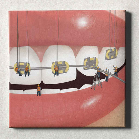 Image of Dental Office Canvas Wall Art Gallery Wrapped Brace Face Yellow