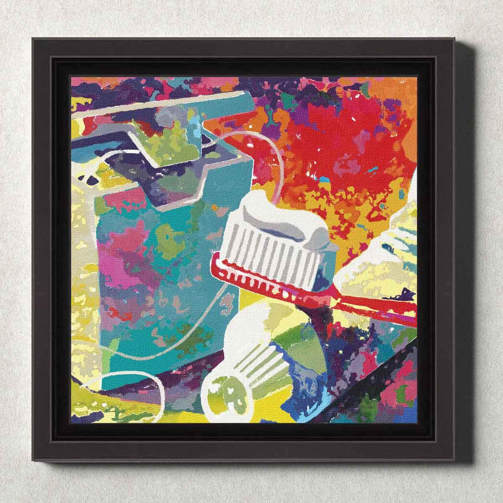 Dental Office Canvas Wall Art Framed Brush and Floss Red