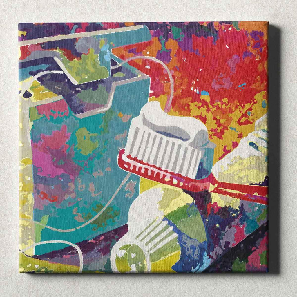 Dental Office Canvas Wall Art Gallery Wrapped Brush and Floss Red