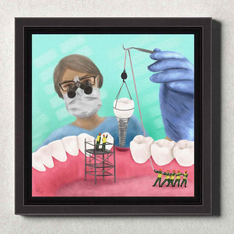 Image of Dental Office Canvas Wall Art Framed Implant Team