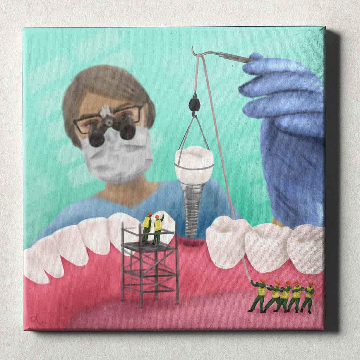 Dental Office Canvas Wall Art Gallery Wrapped Implant Team