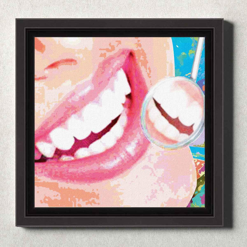 Dental Office Canvas Wall Art Framed Smile Check Pink