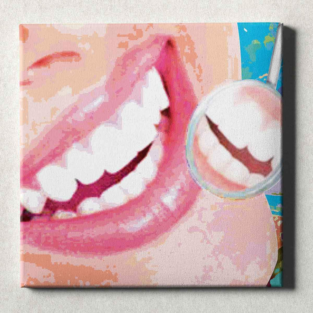 Dental Office Canvas Wall Art Gallery Wrapped Smile Check Pink