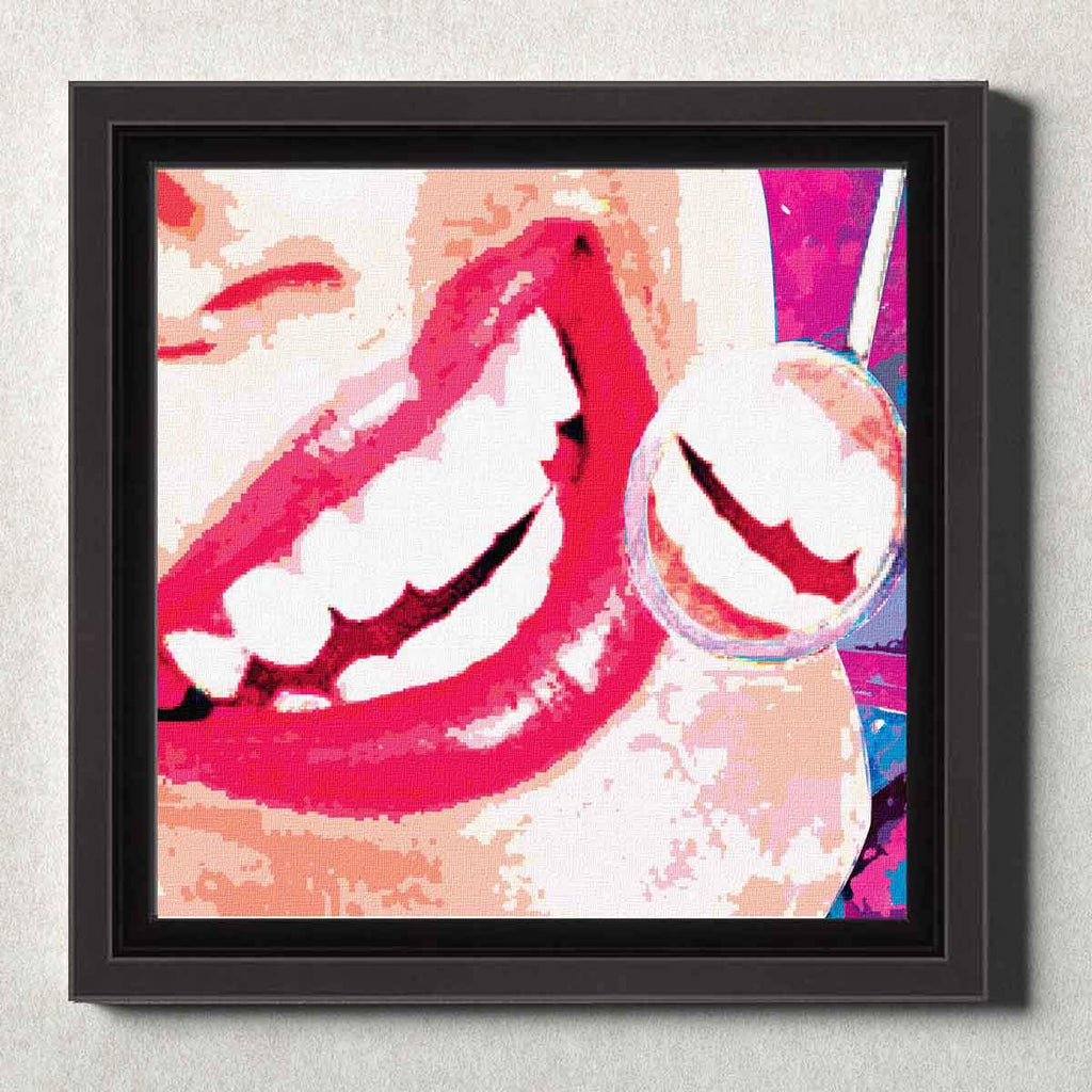 Dental Office Canvas Wall Art Framed Smile Check Red