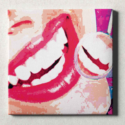 Image of Dental Office Canvas Wall Art Gallery Wrapped Smile Check Red