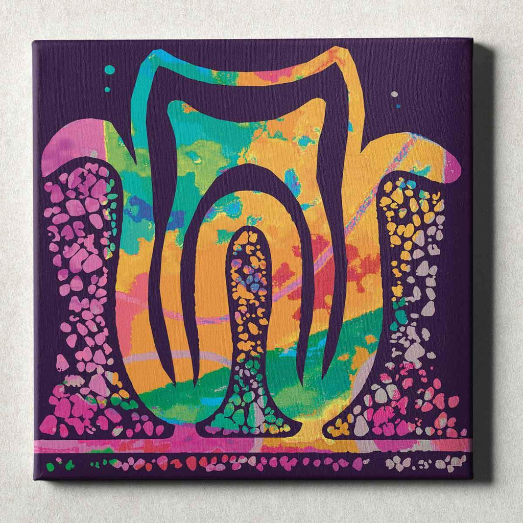 Dental Office Canvas Wall Art Gallery Wrapped Tooth Roots Purple