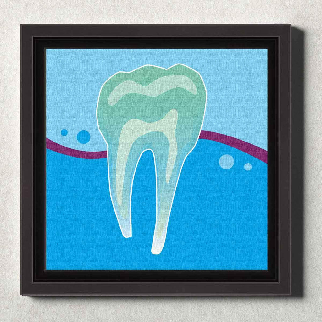 Dental Office Canvas Wall Art Framed Tooth X-Ray Blue