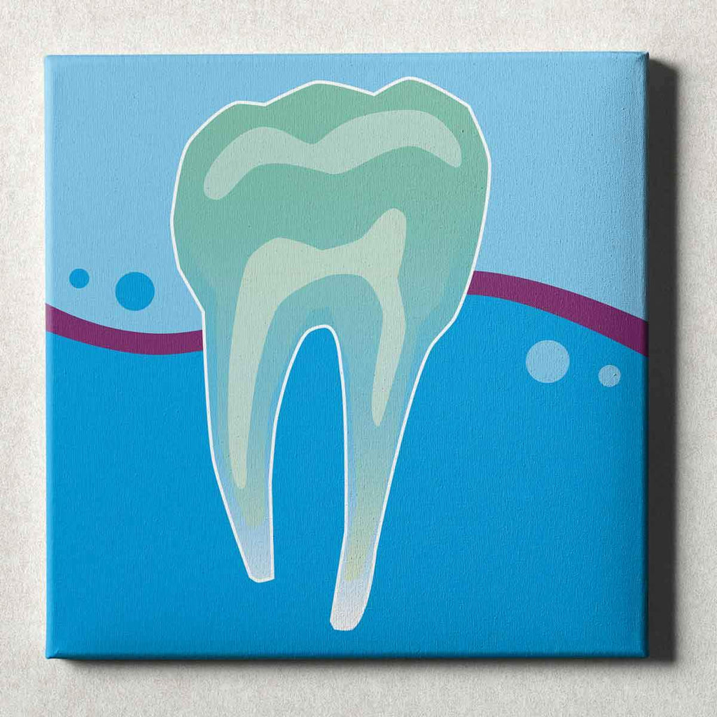 Dental Office Canvas Wall Art Gallery Wrapped Tooth X-Ray Blue