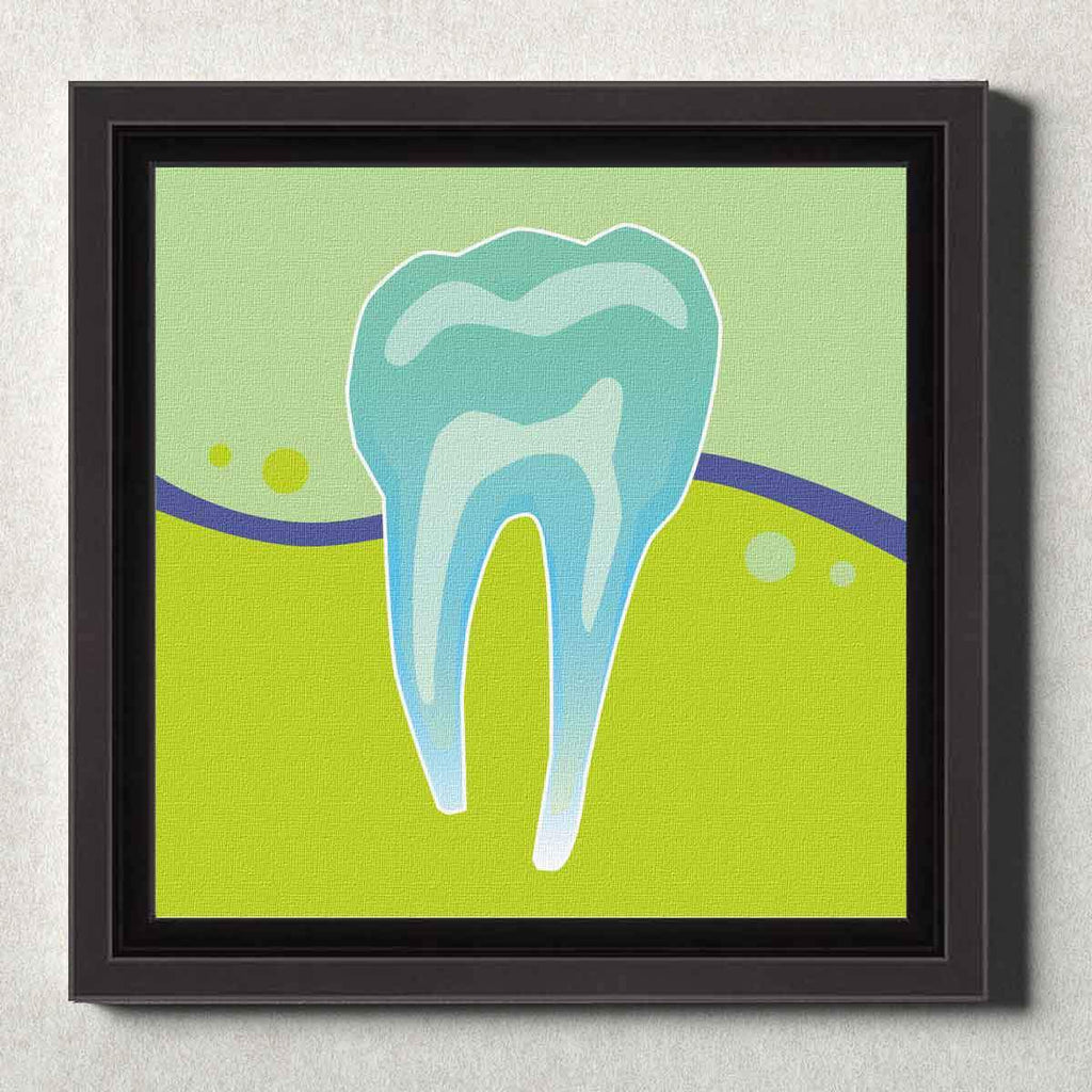 Dental Office Canvas Wall Art Framed Tooth X-Ray Green