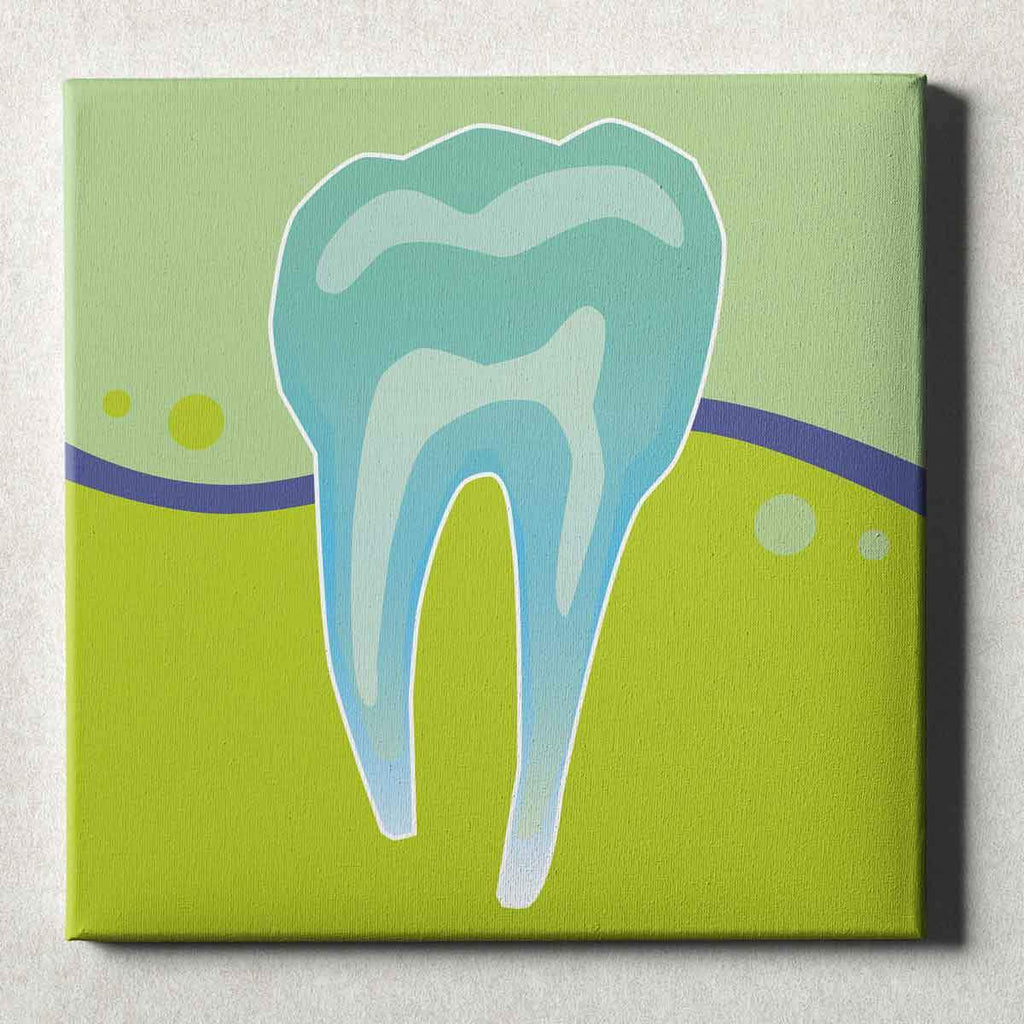 Dental Office Canvas Wall Art Gallery Wrapped Tooth X-Ray Green