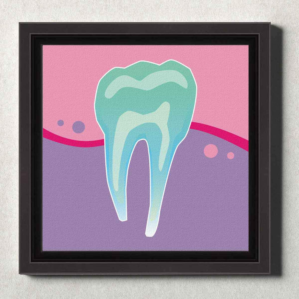 Dental Office Canvas Wall Art Framed Tooth X-Ray Pink
