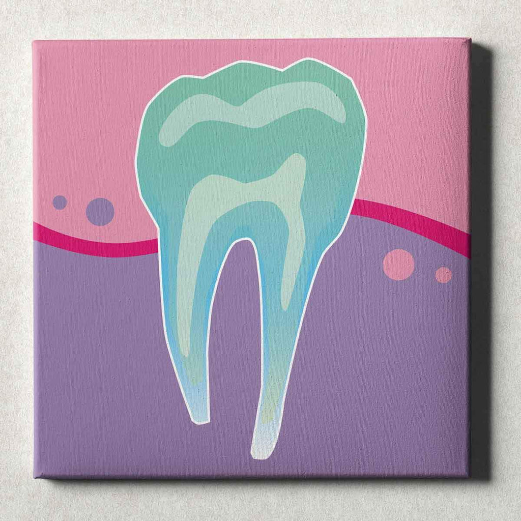 Dental Office Canvas Wall Art Gallery Wrapped Tooth X-Ray Pink