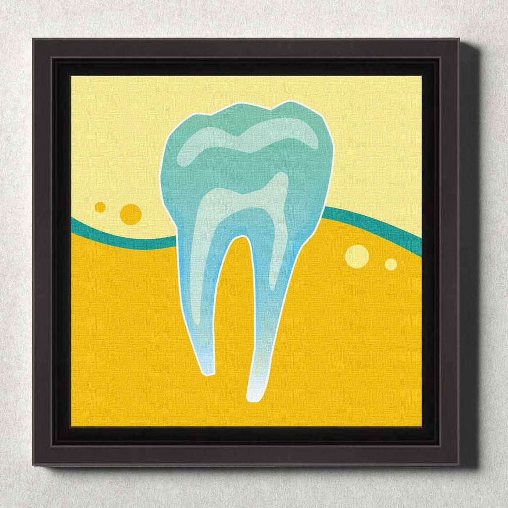 Dental Office Canvas Wall Art Framed Tooth X-Ray Yellow