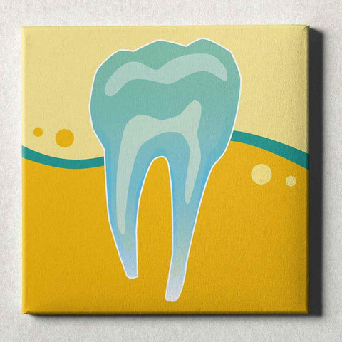 Image of Dental Office Canvas Wall Art Gallery Wrapped Tooth X-Ray Yellow