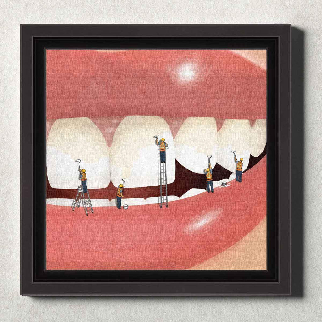 Dental Office Canvas Wall Art Framed Whiter and Brighter