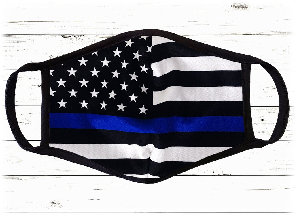 Thin Blue Line Police Face Cover - I Love My Freedom