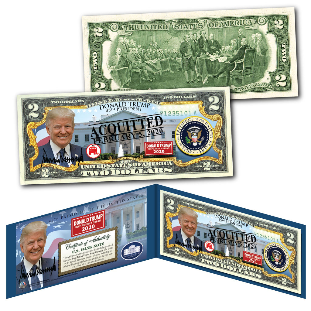 Trump Acquitted Legal Tender $2 Bill - I Love My Freedom