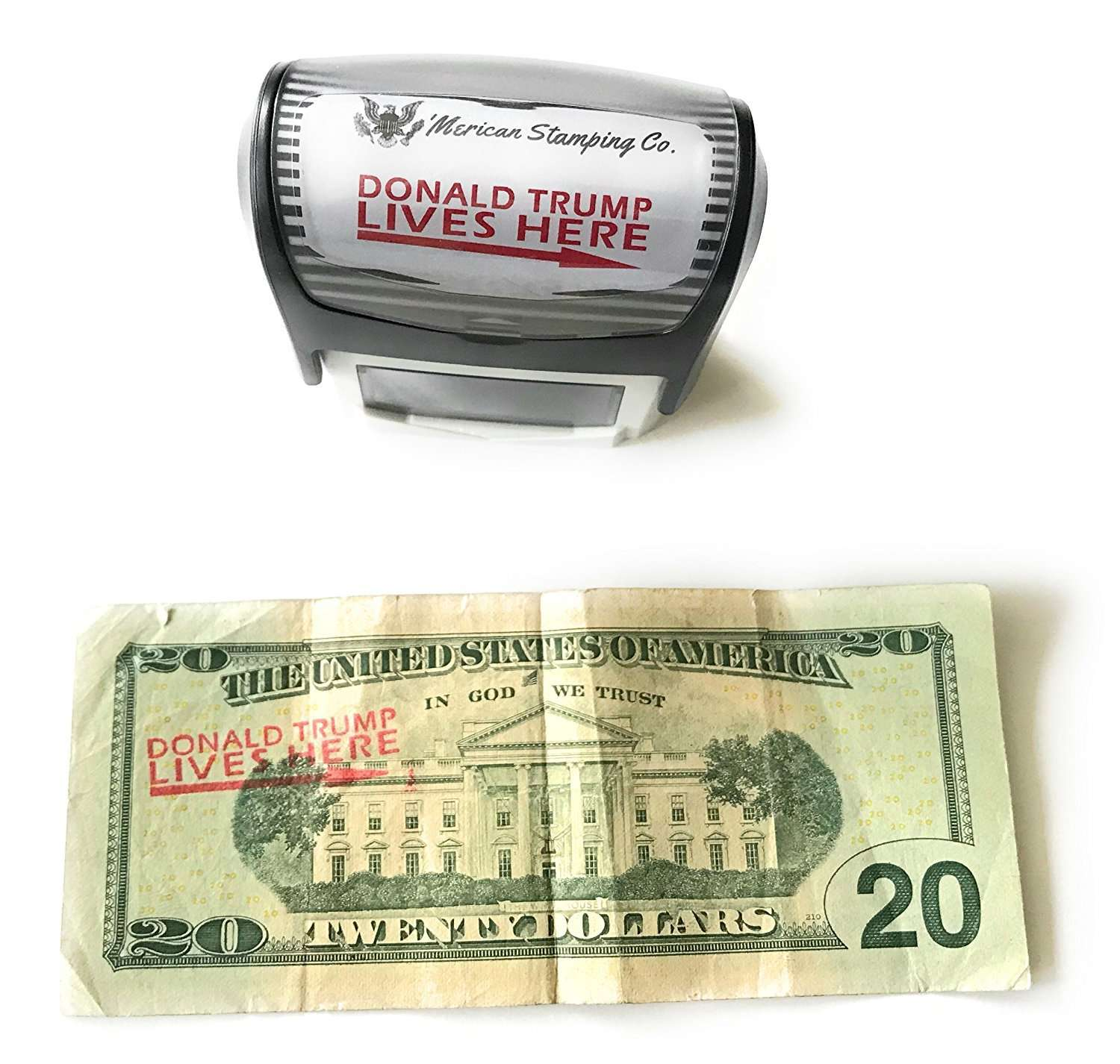 Donald Trump Lives Here Stamp, Self Inking Rubber Stamp, Red Ink [100% LEGAL!] - I Love My Freedom
