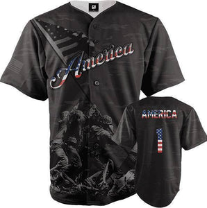 America #1 Black Camo Baseball Jersey - I Love My Freedom
