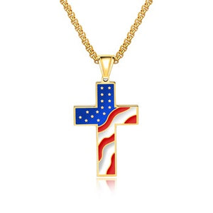 Gold Patriotic Cross Necklace - I Love My Freedom