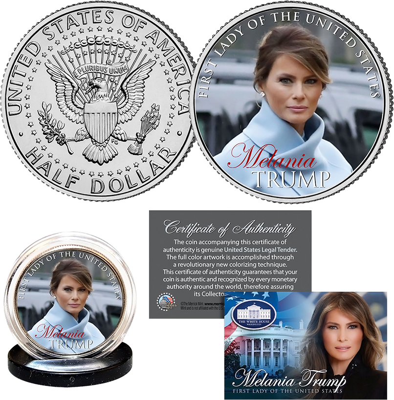 Melania Trump First Lady JFK Half Dollar - I Love My Freedom