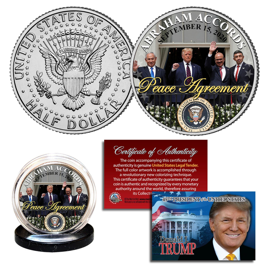 Abraham Accords Peace Agreement JFK Half Dollar - I Love My Freedom