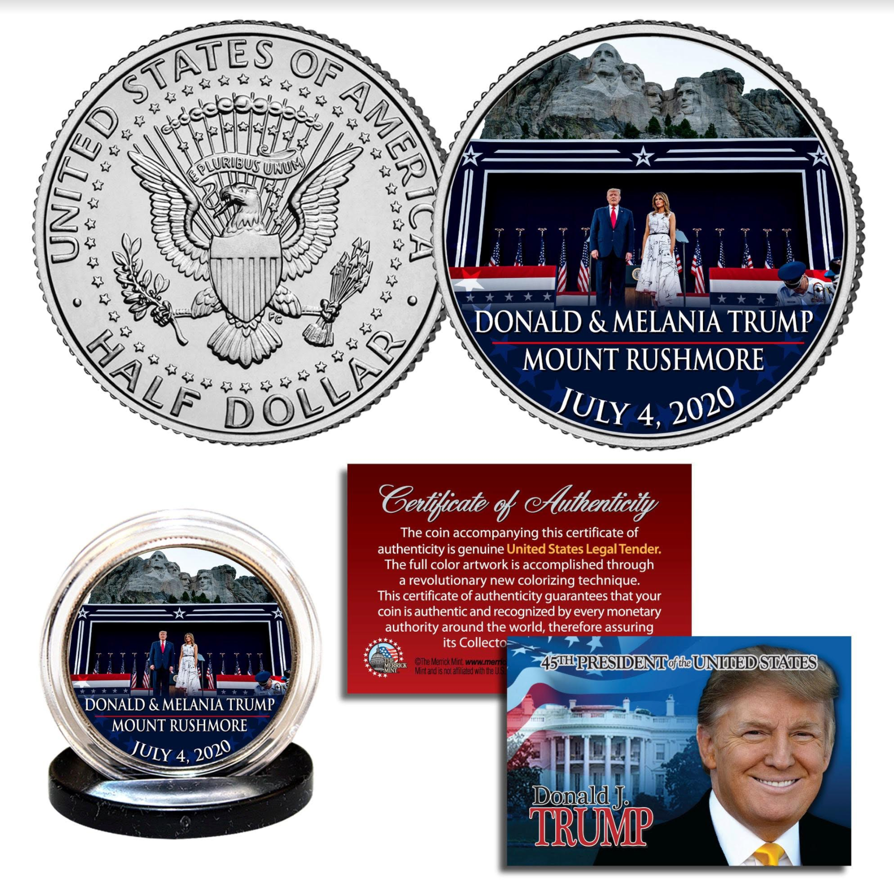 Donald & Melania Trump Mt. Rushmore Coin - I Love My Freedom