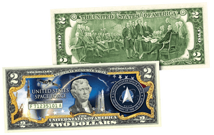 Space Force Trump Legal Tender $2 Bill - I Love My Freedom