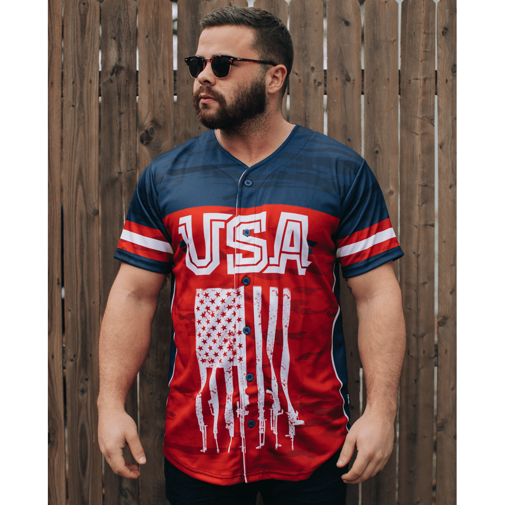 USA 2nd Amendment V2 Baseball Jersey - Greater Half