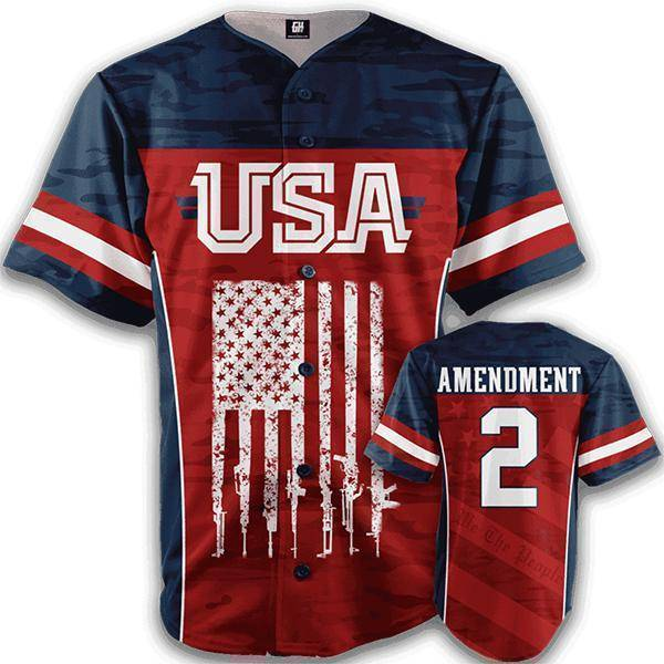 USA 2nd Amendment V2 Baseball Jersey - I Love My Freedom