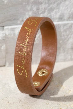 """She Believed She Could..."" - Faux Leather Snap Bracelet in Brown"