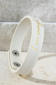 """I AM Enough"" - Faux Leather Snap Bracelet in Ivory"