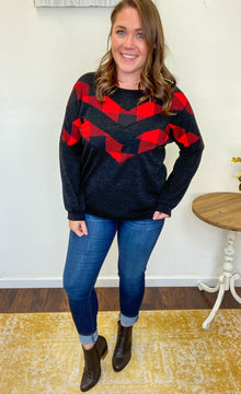 Mandi - Black & Buffalo Plaid Chevron Sweater