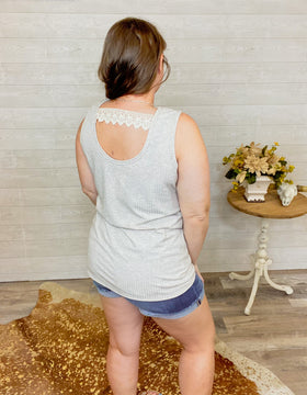 Oatley - Oatmeal Tank with Vertical Ribbing and Lace Detail