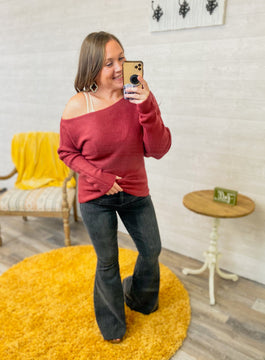 Mallory - Ribbed Knit Asymmetrical Sweater in Merlot