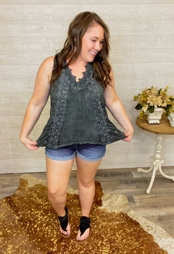 Alexia - GORGEOUS Charcoal Washed Sleeveless Top with Floral Applique