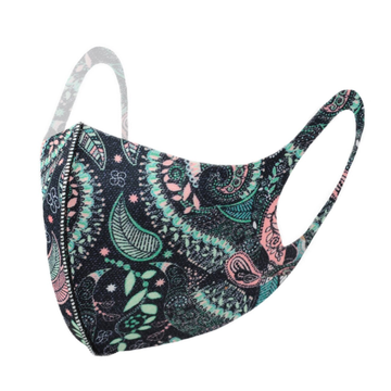 Lightweight Breathable Mask - Black/Turquoise Paisley
