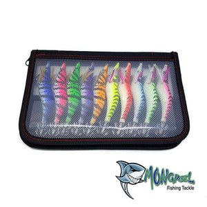 New 10 Squid Jigs 3.5 Egi Jig Bait Lure 10 Pack With Tackle Bag Jig Glow 10 Pack - Squid Jigs