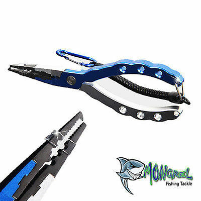 NEW ALLOY FISHING PLIERS SPLIT RING  CUTS BRAID & MONO LINE KAYAK BOATING BLUE
