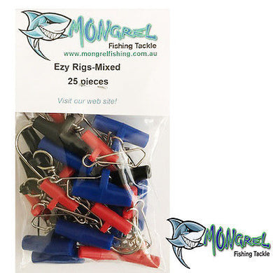 New 25 x Fishing Easy Rigs Fishing Tackle Hooks Sinker SLIDER MIXED BAG Ezy Rigs