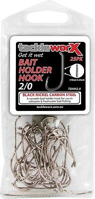 NEW 25 x SIZE 2/0 Chemically Sharpened BAIT HOLDER Fishing Hook Fishing Tackle