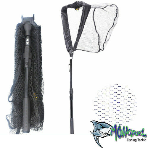 New Landing net 95 cm Telescopic Aluminium Rubber Mesh Boat Kayak Land Based
