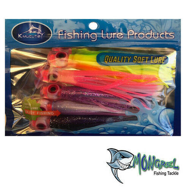New TROLLING TUNA LURES Tuna SKIRTS 5 X 4.5 INCH 5 Pack Fishing Tackle - TROLLING TUNA LURES