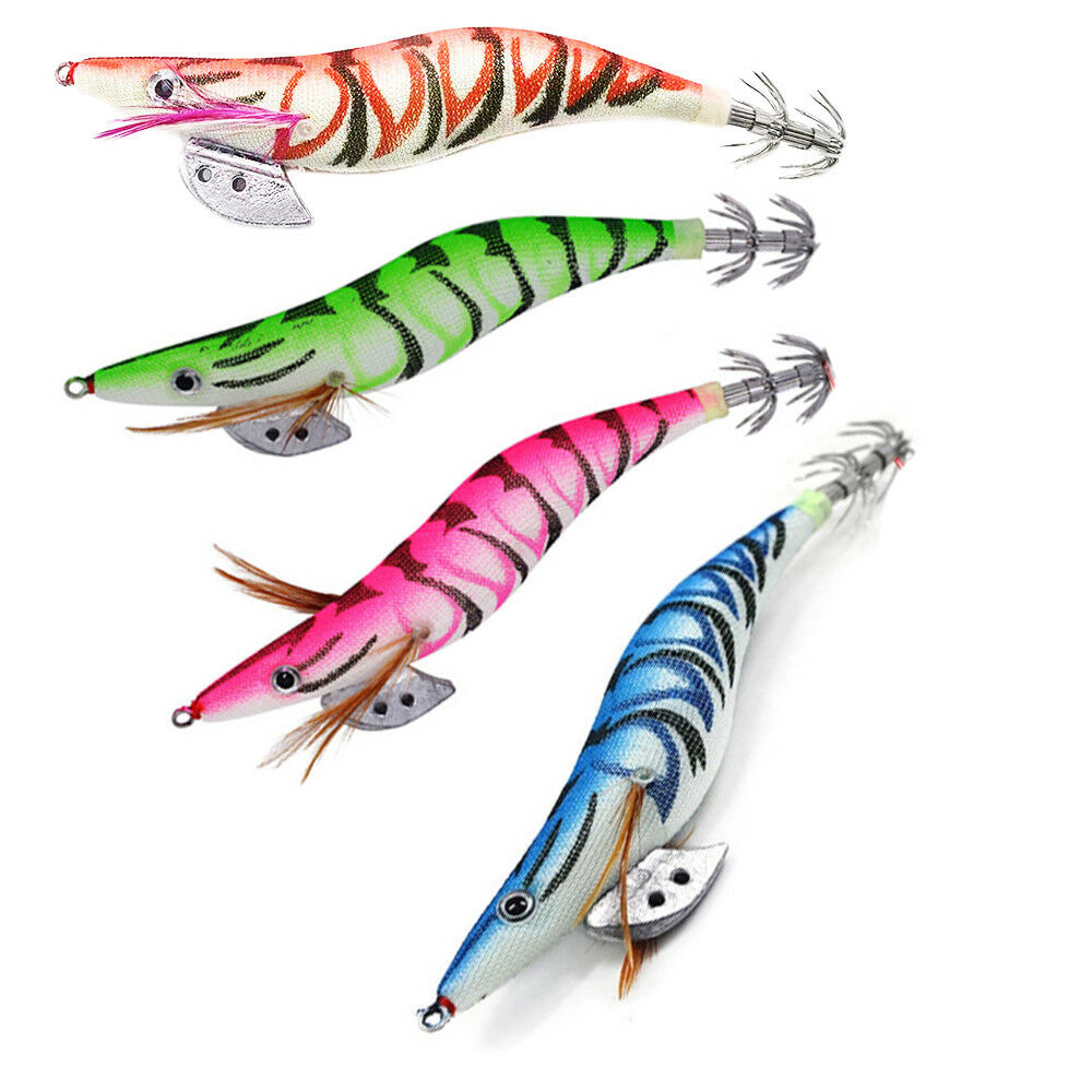 New 4 x Squid Jigs 3.5 Egi Jig Lure Mongrel Tiger Jigs Calamari Fishing Tackle