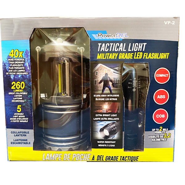 Military Grade LED Flash Light and COB Colabsible Lantern Value Package