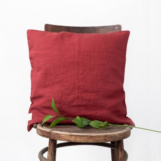 Red Pear Washed Linen Cushion Cover