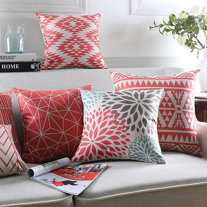 Red Floral Cushion Cover Modern Bohemia Decorative Throw Pillow Cases